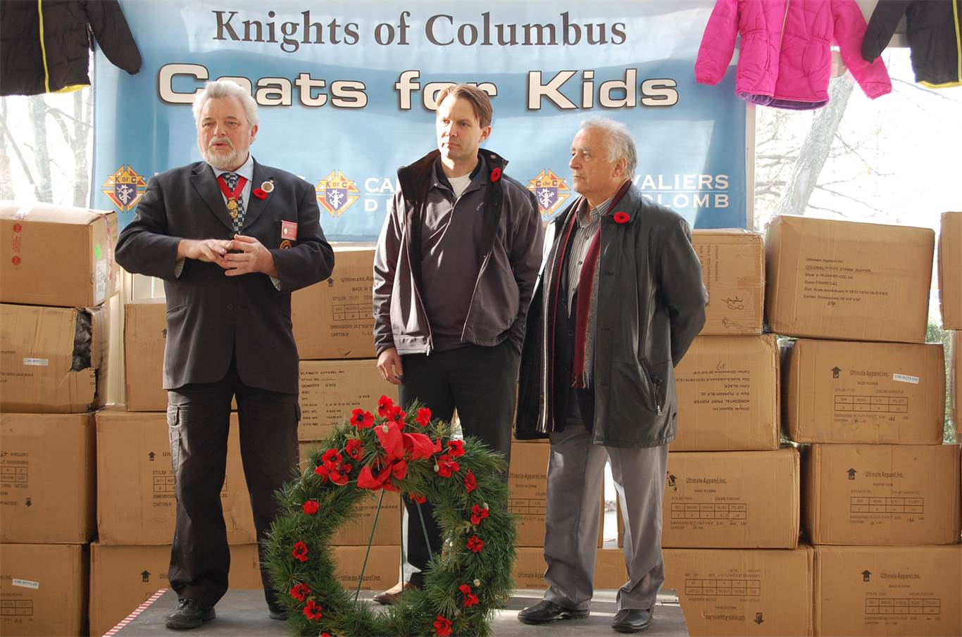 From left to right: Knights of Columbus State Deputy of Ontario Dan Heffernan; General Agent for Knights of Columbus Insurance Neil Bouvier, and former Supreme Director for the Knights of Columbus Supreme Board Nat Gallo collaborated to begin a local Coats for Kids campaign to keep needy children warm in the cold winter months. This year's 3rd annual campaign collected 1,640 coats; 552 have been earmarked for HWCDSB schools.